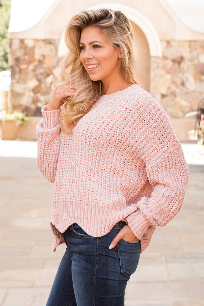 &Merci Pink Chenille Wavy Hem Sweater (Close Up Left Side)