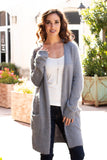 Grey Fuzzy Mid-Length Cardigan with Pockets Front Close Up 3