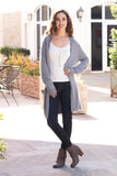 Grey Fuzzy Mid-Length Cardigan with Pockets Front View 2