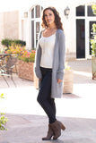 Grey Fuzzy Mid-Length Cardigan with Pockets Front Left View