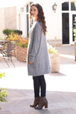 Grey Fuzzy Mid-Length Cardigan with Pockets Over the Shoulder Look