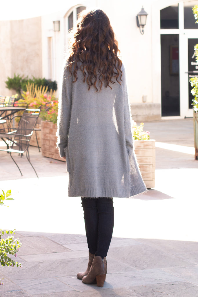 Grey Fuzzy Mid-Length Cardigan with Pockets Back View