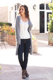 Grey Fuzzy Mid-Length Cardigan with Pockets Front Pose