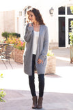 Grey Fuzzy Mid-Length Cardigan with Pockets Front View