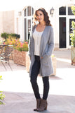 Grey Fuzzy Mid-Length Cardigan with Pockets Front Left View Hands in Pockets