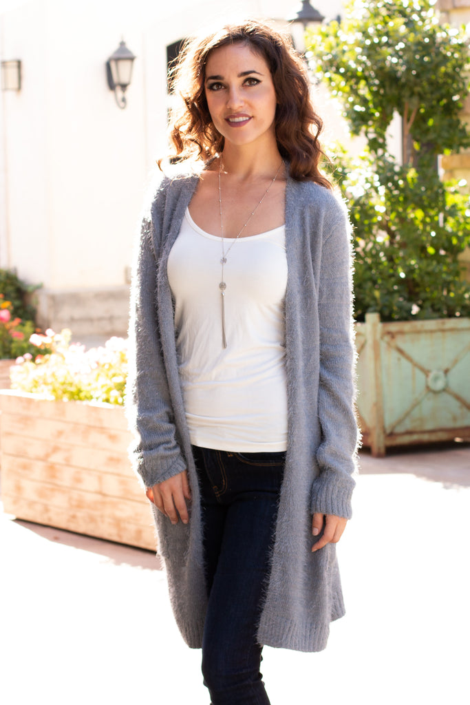 Grey Fuzzy Mid-Length Cardigan with Pockets Front Close Up