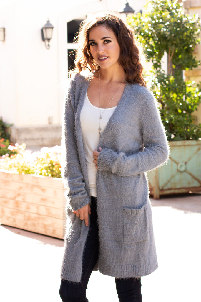 Grey Fuzzy Mid-Length Cardigan with Pockets Front Close Up 2
