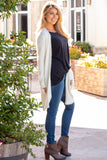 White Fuzzy Mid-length Cardigan with Pockets Right Front View
