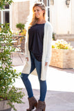 White Fuzzy Mid-length Cardigan with Pockets Left Front View
