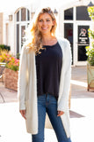 White Fuzzy Mid-length Cardigan with Pockets Front Close Up