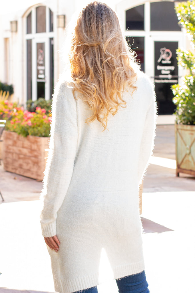 White Fuzzy Mid-length Cardigan with Pockets Back Close Up