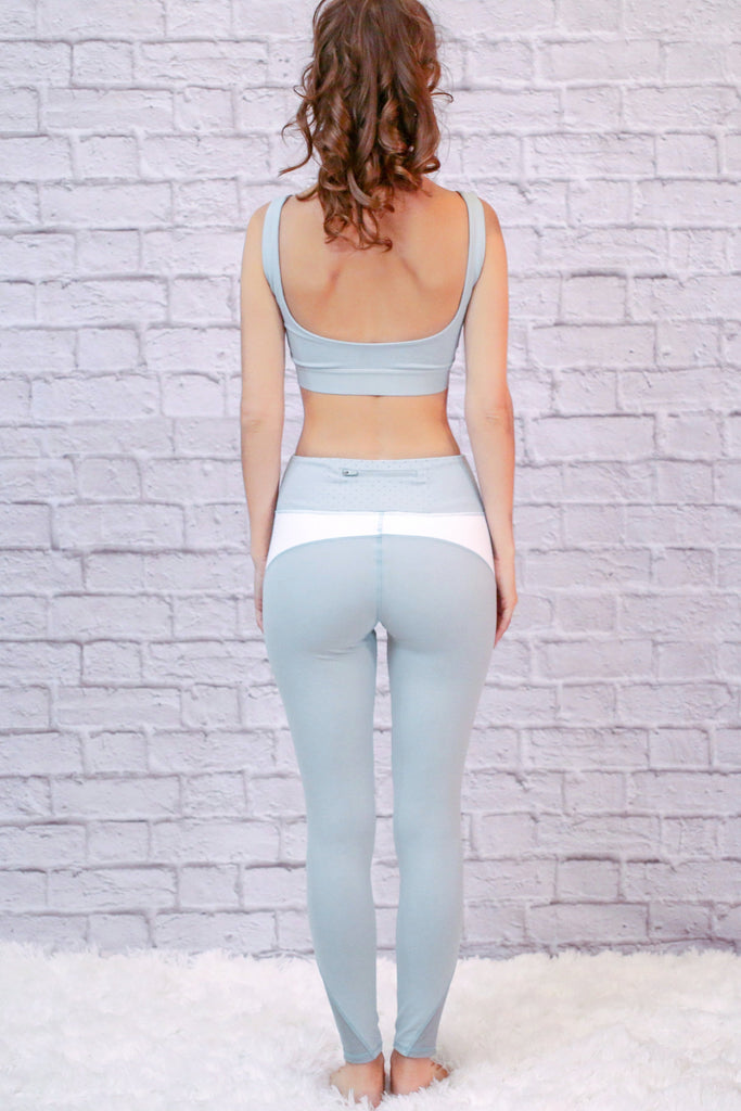 Zen Life Mixed Mesh Activewear Leggings- Mint