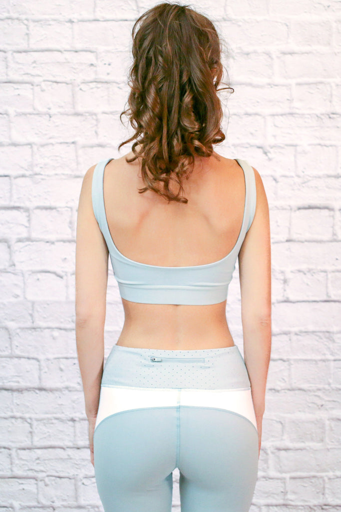 Mint Wide Neck Sports Bra With Open Back