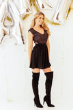 juniors fit and flare side cutout holiday dress with over the knee boots outfit