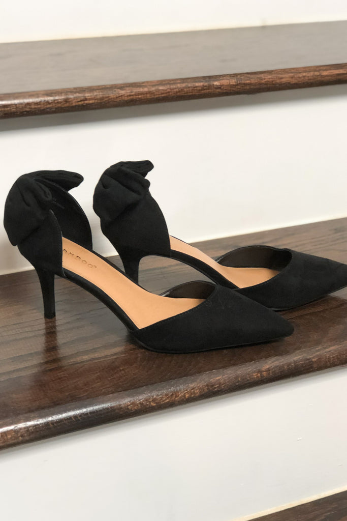 Kate Bow Back Heels - Black