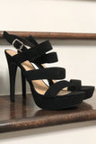Christina Ladder Strap Heels- Black