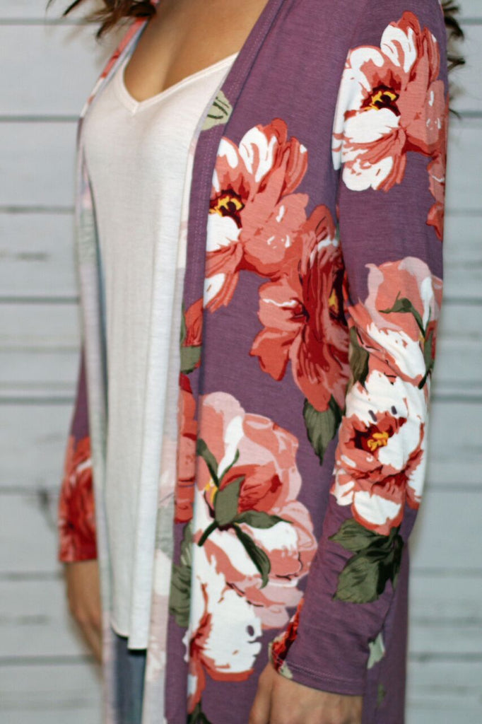 IN BLOOM DUSTER CARDIGAN - ORCHID (WITH FLORAL PRINT)