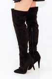 rochelle black over the knee boots side view