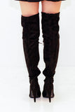 rochelle black over the knee boots with heel back view