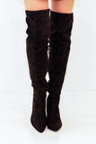 rochelle fitted black over the knee boots front view