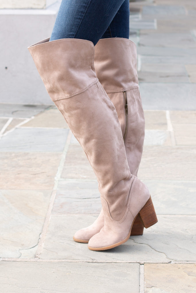Seneca Over the Knee Boots - Taupe