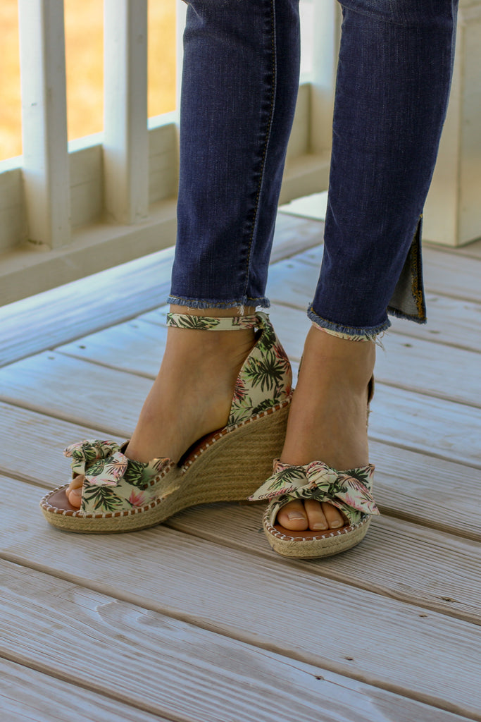 Take Me to Paradise Palm Print Wedges