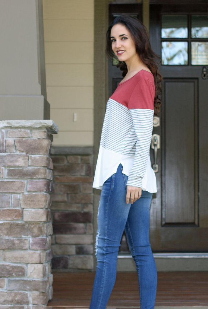 Forever Lovely Colorblock Top-Rust