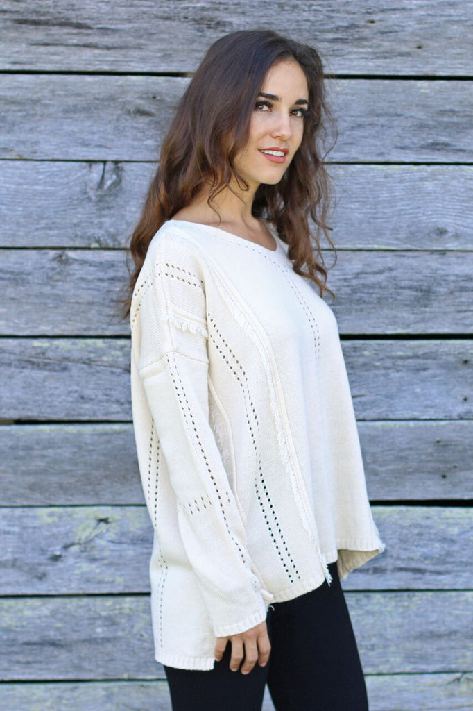 Cozy By The Fireside Fringe Sweater-Ivory