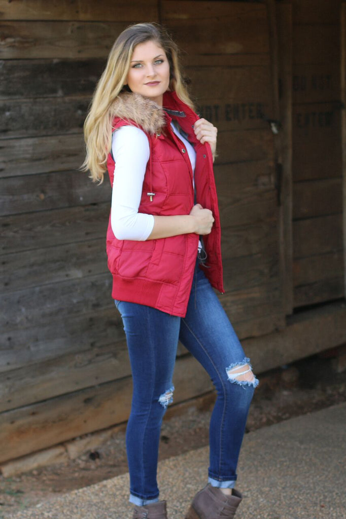 Call Of The Wild-Faux Fur Puffer Vest Red