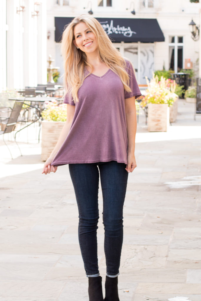 Can't Get Enough Cutout Top- Eggplant