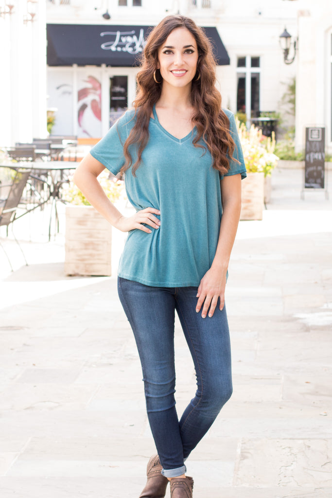 Can't Get Enough Cutout Top- Teal