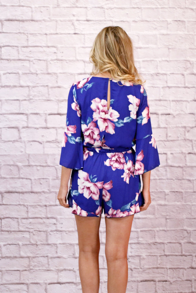 blue and pink surplice floral romper womens and juniors