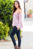 Peach Love California Bell-Sleeve Off the Shoulder Blouse- Mauve/Paisley (Fullbody Left Side)