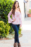 Peach Love California Bell-Sleeve Off the Shoulder Blouse- Mauve/Paisley (Fullbody Right Side)