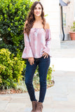 Peach Love California Bell-Sleeve Off the Shoulder Blouse- Mauve/Paisley (Fullbody Front View 1)