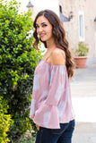 Peach Love California Bell-Sleeve Off the Shoulder Blouse- Mauve/Paisley (Left Side Closeup)