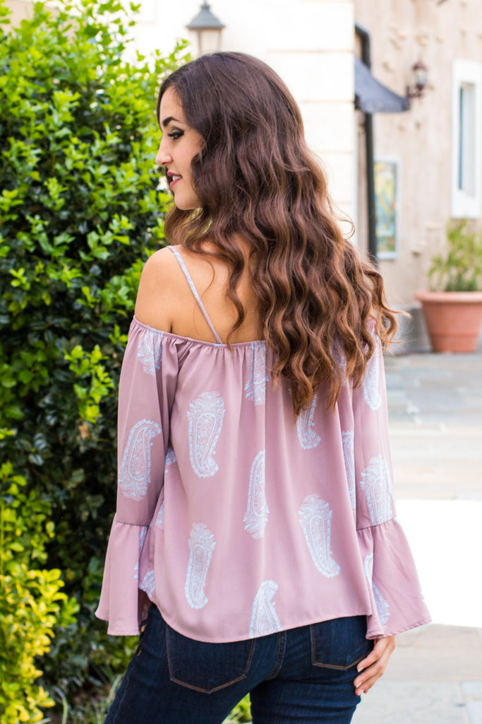 Peach Love California Bell-Sleeve Off the Shoulder Blouse- Mauve/Paisley (back closeup)