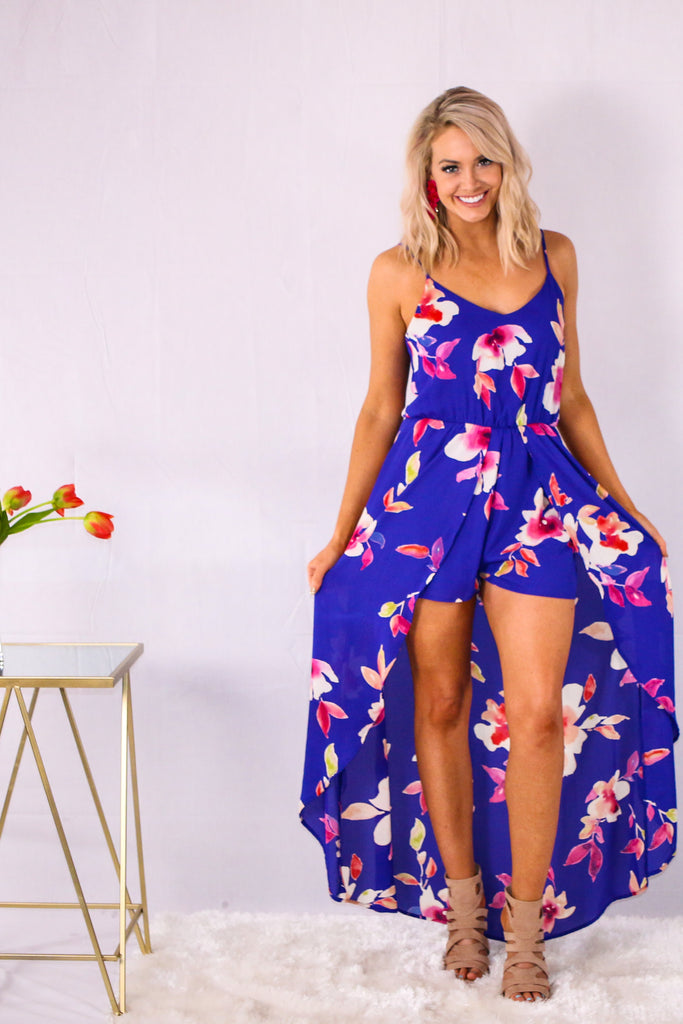 Royal Blue Floral Print V-Neck Romper Maxi with Spaghetti Straps