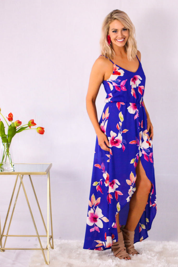 Royal Blue Floral Print V-Neck Romper Maxi with Spaghetti Straps Side View