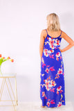 Royal Blue Floral Print Romper Maxi with Spaghetti Straps and Back V-Neck