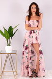 Blushing On You Floral Maxi Romper