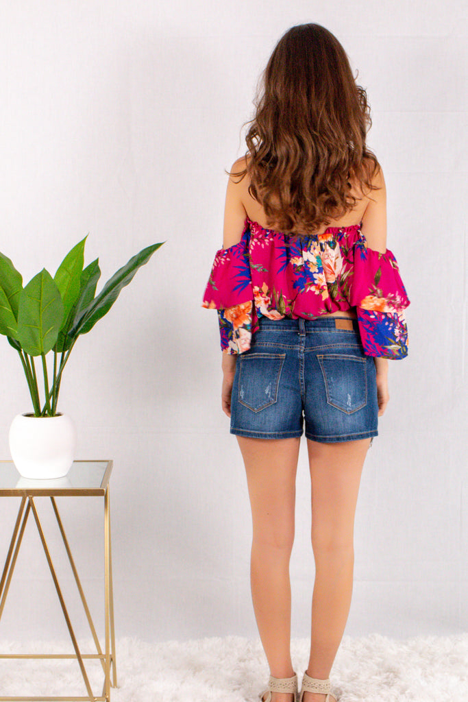 Magenta/Floral Off the Shoulder Crop Top with Tiered 3/4 Sleeves Back View