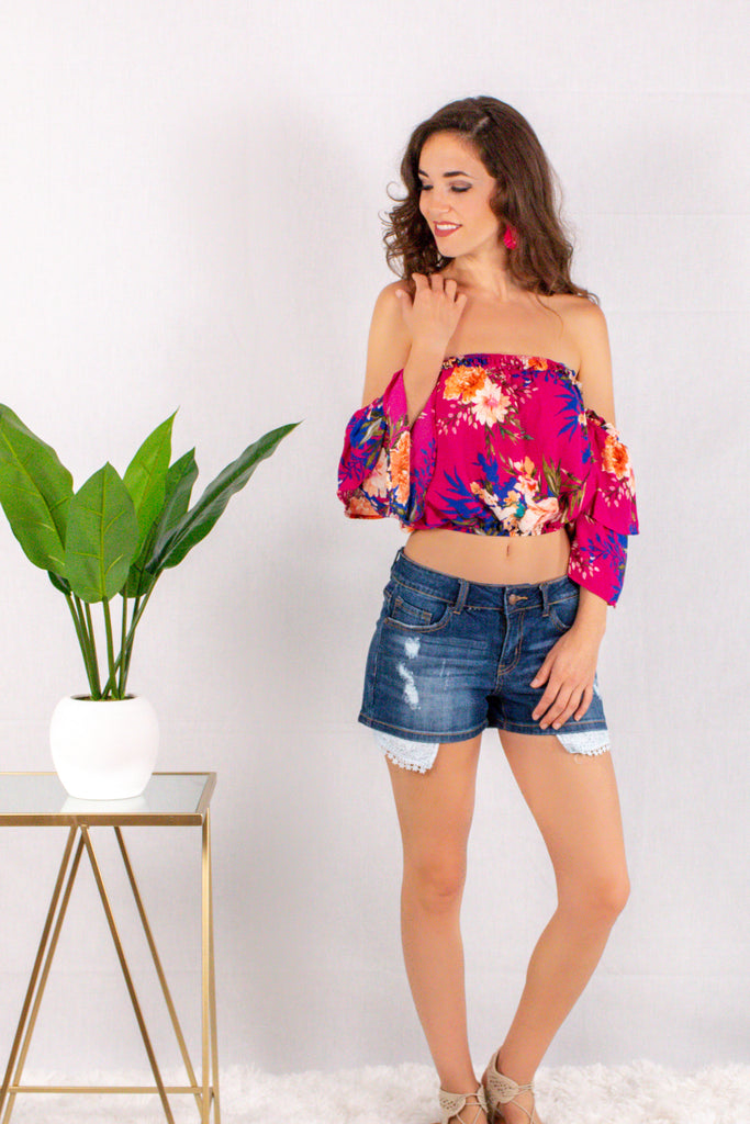 Magenta/Floral Off the Shoulder Crop Top with Tiered 3/4 Sleeves Front View