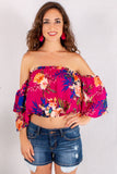 Magenta and Floral Off the Shoulder Crop Top with Tiered 3/4 Sleeves Close Up