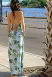 Blue Palm Print Maxi with X-Strap, Open Back