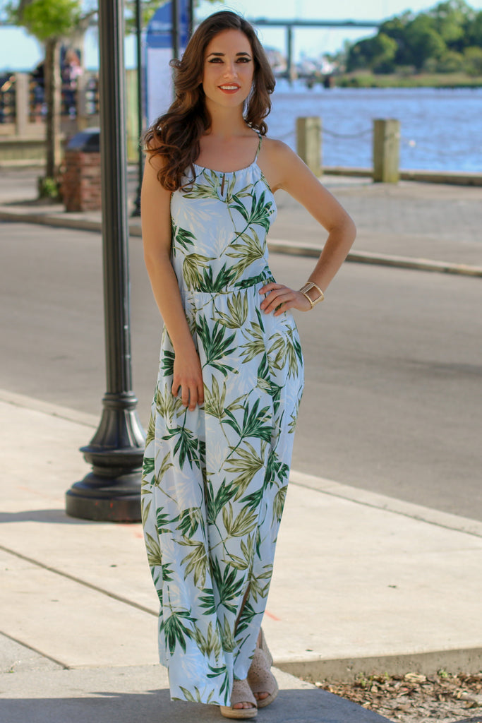 Blue Palm Print Maxi with Halter Neck and Side Slit Front View 2