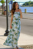 Blue Palm Print Maxi with Halter Neck and Side Slit