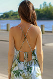 X-Strap, Tie Closure Open Back Close Up of Blue Palm Print Maxi