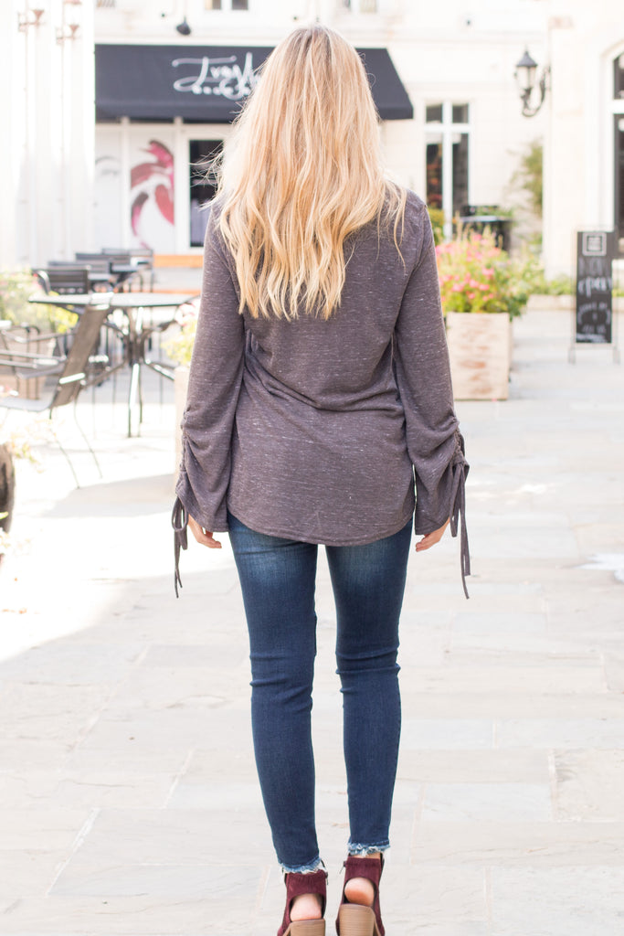 Peach Love California Drawstring Sleeve Top in Grey Fullbody Back View