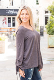Peach Love California Drawstring Sleeve Top in Grey Close Up Right Side